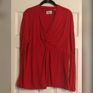 ECI Red Long Sleeved Knotted Shirt
